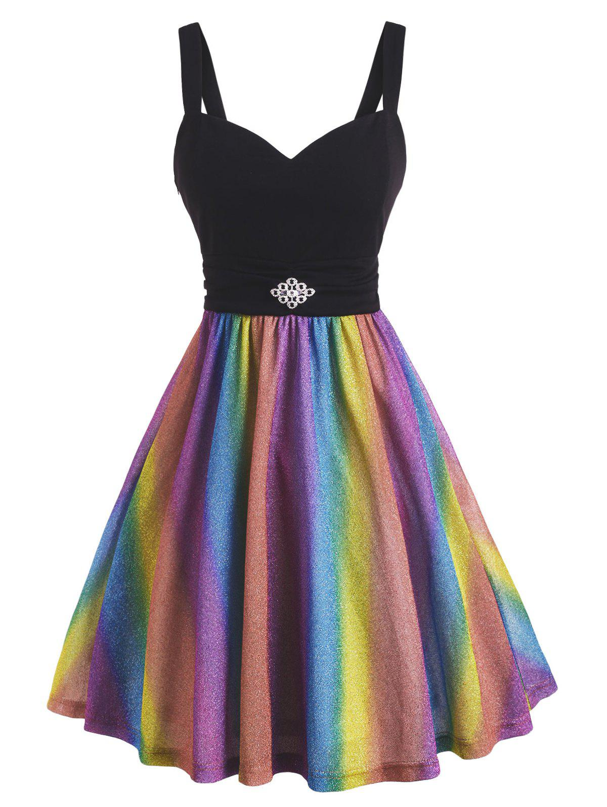 Metallic Thread Rainbow Ruched Rhinestone Pin Waist Dress - multicolor XXL