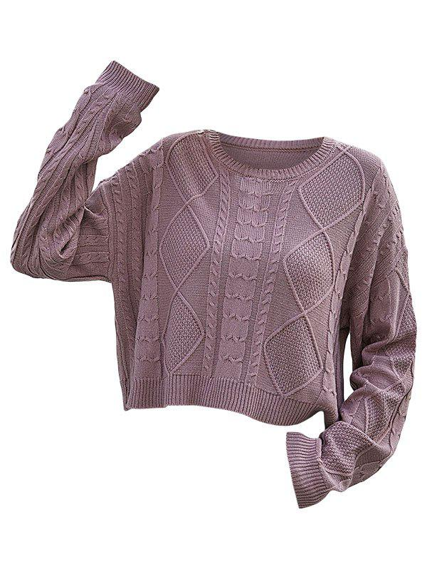 Mixed Cable Textured Drop Shoulder Sweater - LIGHT PINK M