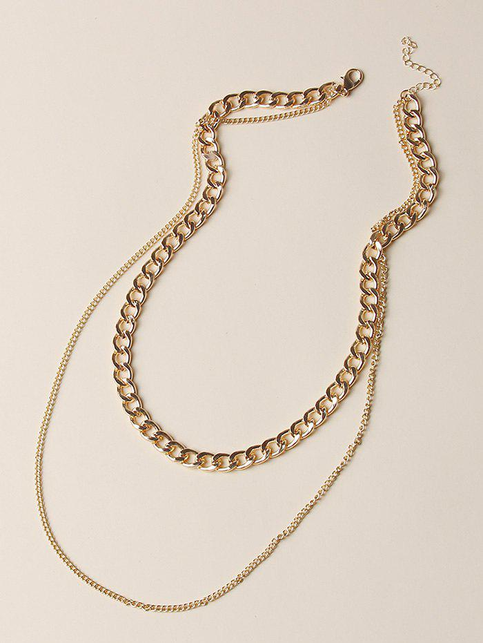 Punk Chain Double Layered Necklace - GOLDEN