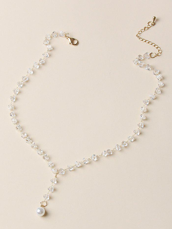 Artificial Crystal Pearl Pendant Necklace - WHITE