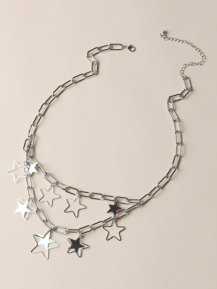 Hollow Out Pentagram Layers Charm Necklace - SILVER