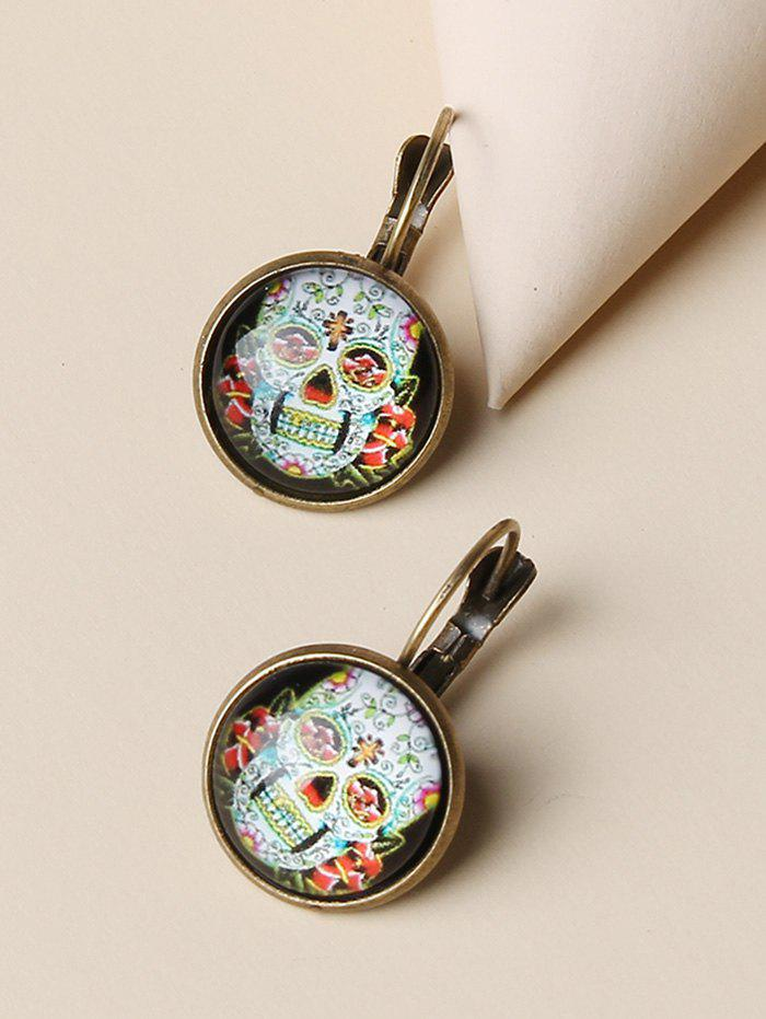 Retro Skull Flower Pattern Round Earrings - GOLDEN