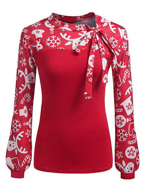 Pussy Bow Christmas Pattern Long Sleeve Blouse