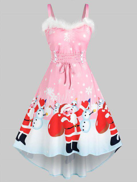 Plus Size Christmas Snowman Santa Claus Faux Fur Insert Lace Up Dress