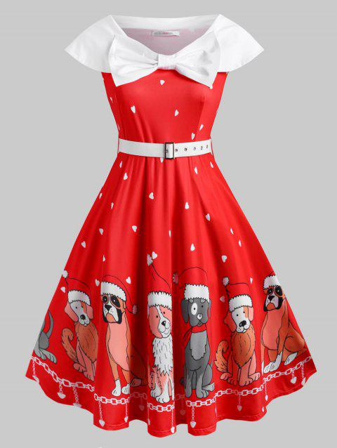 Belted Bowknot Christmas Puppy Dog Heart Plus Size Dress