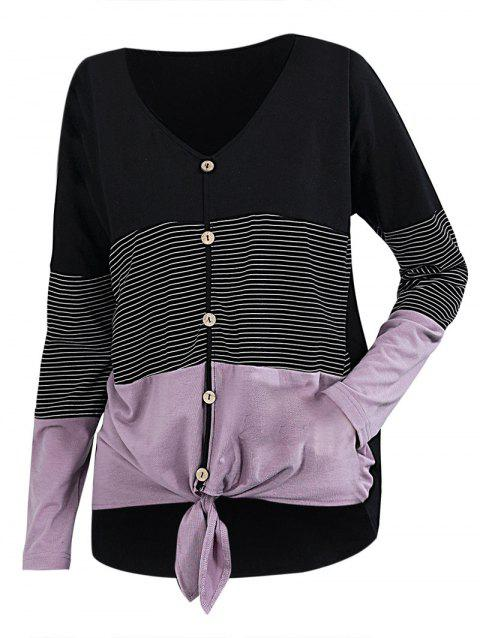 Striped Button Front Knot Curved Hem Tee