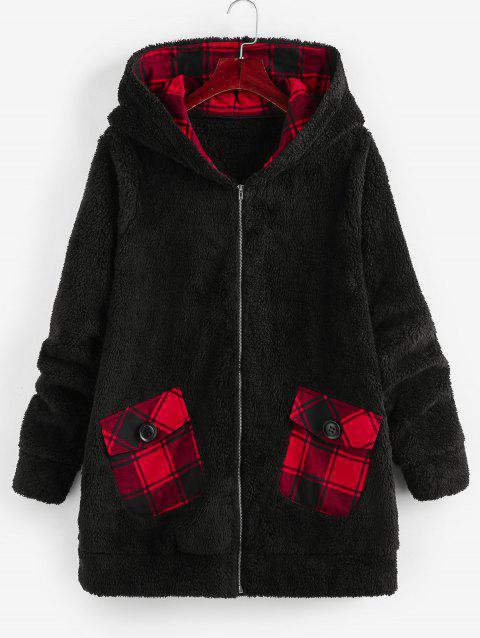 Plus Size Hooded Plaid Pocket Fluffy Coat