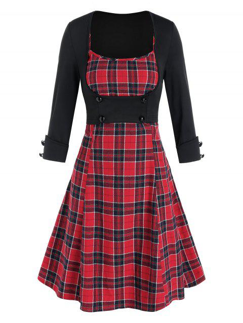 Plaid Cami Mini Dress and Open Bust Top Set