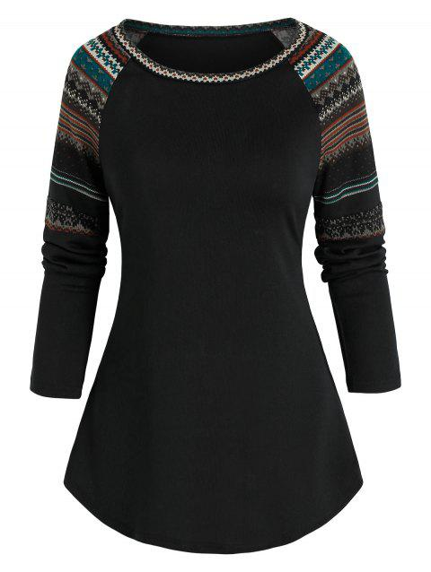 Raglan Sleeve Tribal Pattern T-shirt