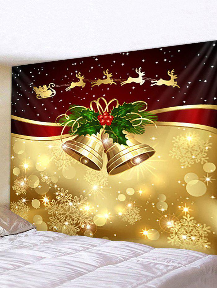 Christmas Decoration Bell Print Waterproof Wall Tapestry - multicolor W91 X L71 INCH