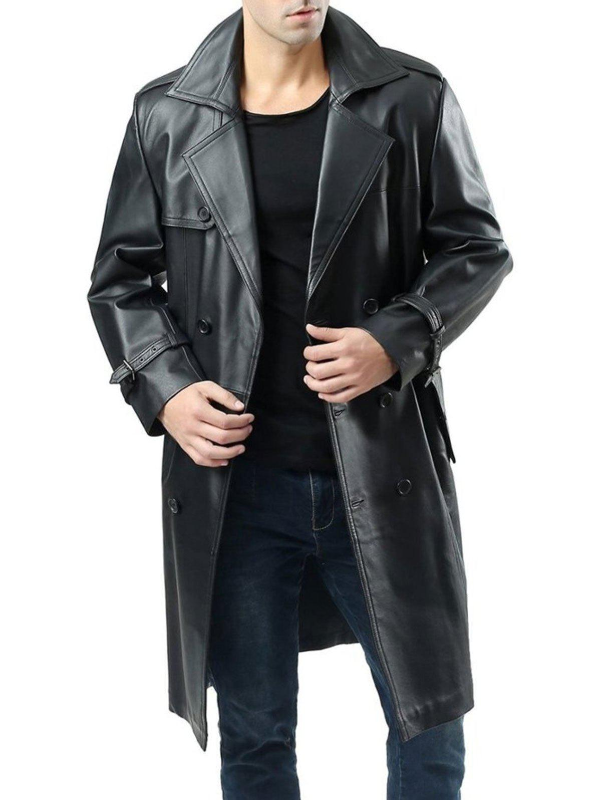 Double Breasted Faux Leather Belted Coat - BLACK XXL