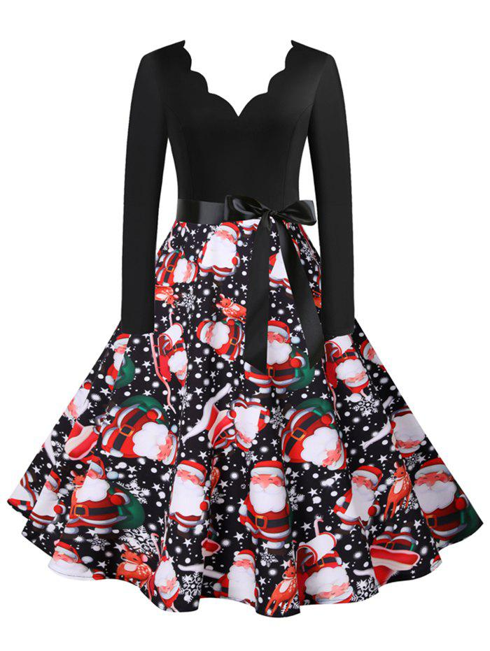 Christmas Snowflake Santa Claus Scalloped V Neck Belted Dress - multicolor A XXXL
