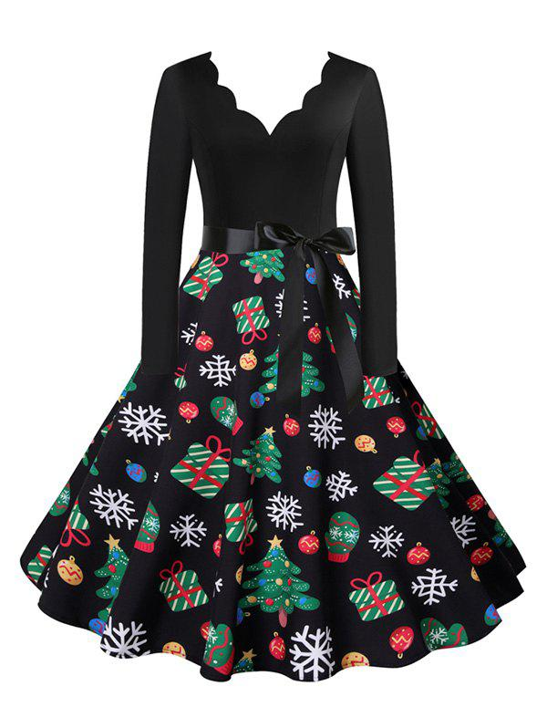 Christmas Snowflake Elk Tree Print Scalloped V Neck Belted Dress - multicolor A XXXL