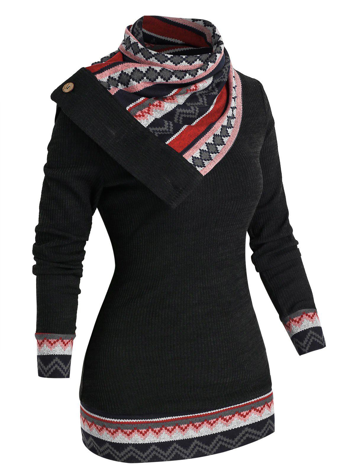 Patchwork Geometry Knitwear - BLACK XL