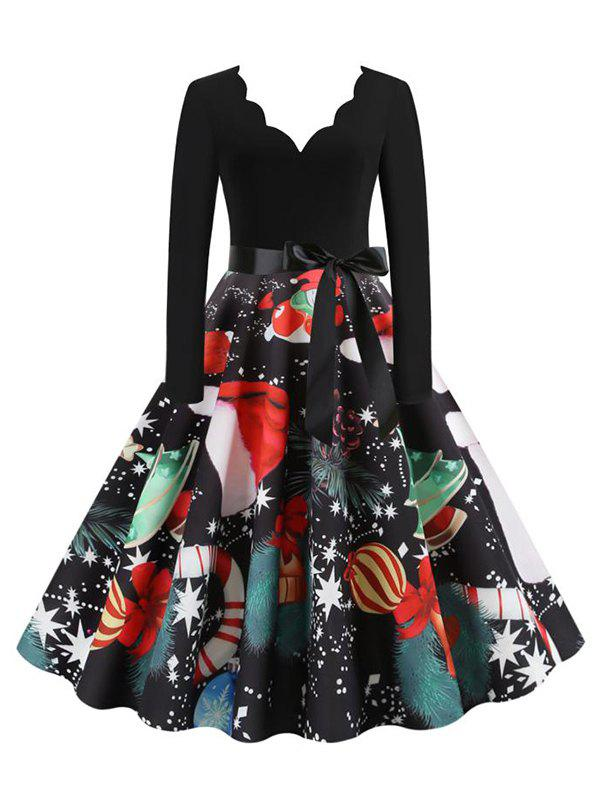 Scalloped Neck Christmas Printed Belted A Line Dress - BLACK M