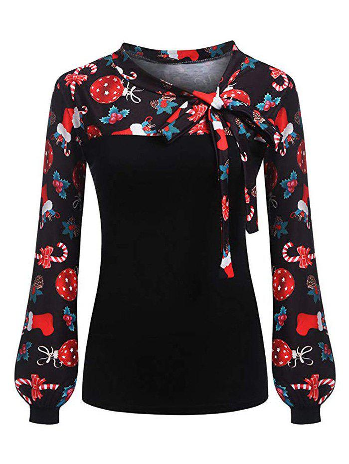 Pussy Bow Christmas Pattern Long Sleeve Blouse - BLACK XL