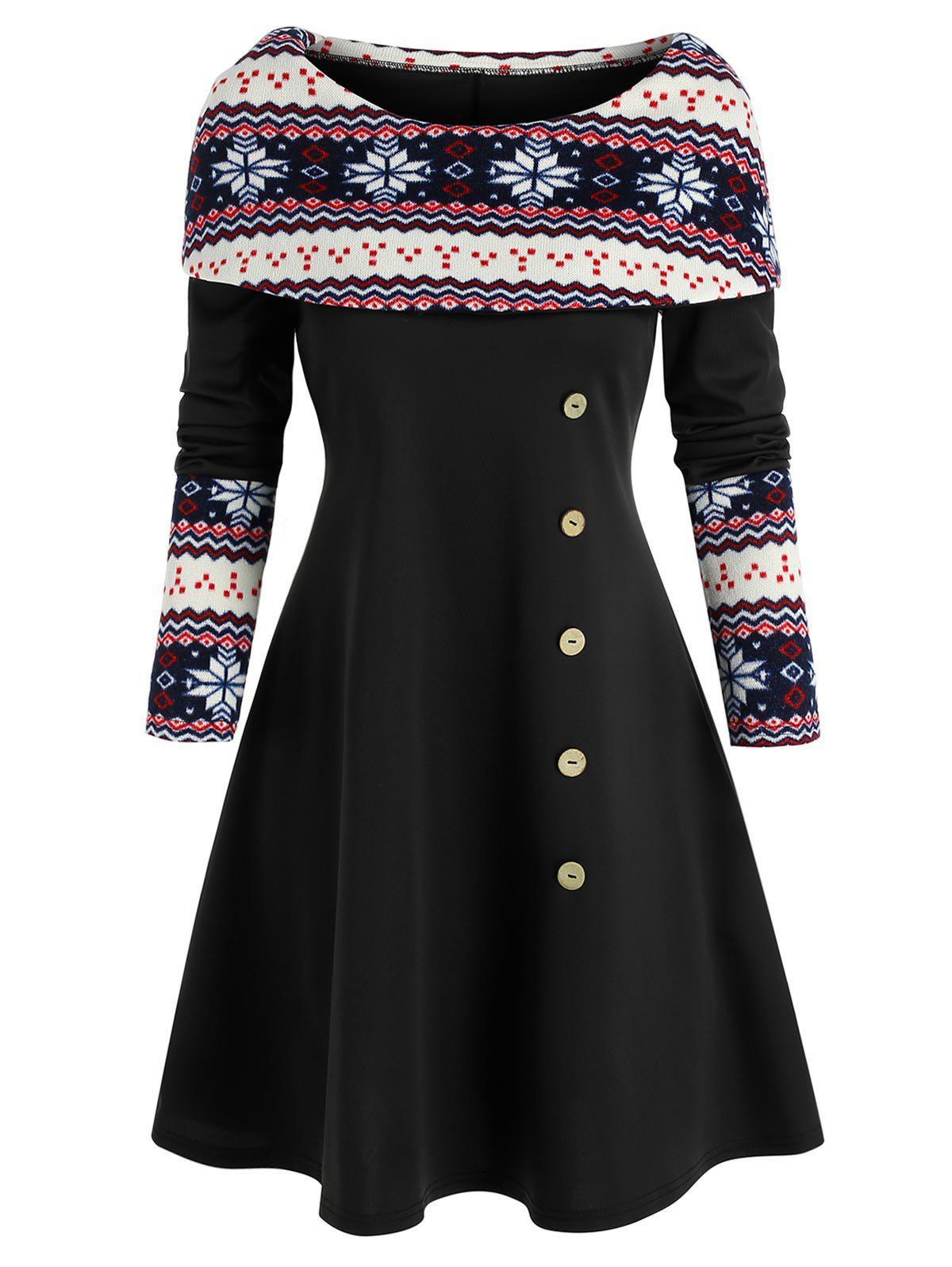 Christmas Snowflake Print Foldover Dress - BLACK L
