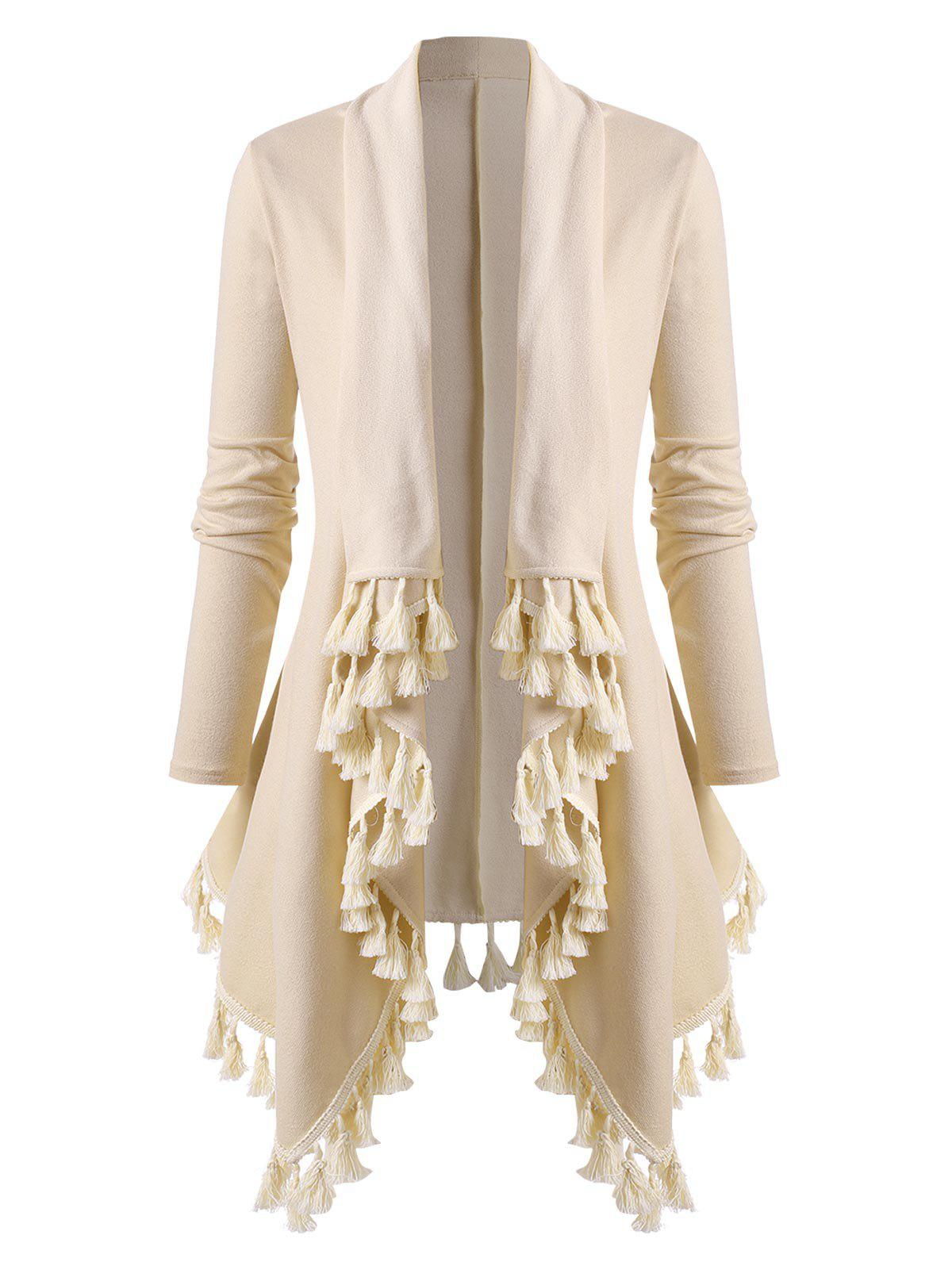 Plus Size Tassel Draped Open Waterfall Tunic Cardigan - LIGHT YELLOW 4X