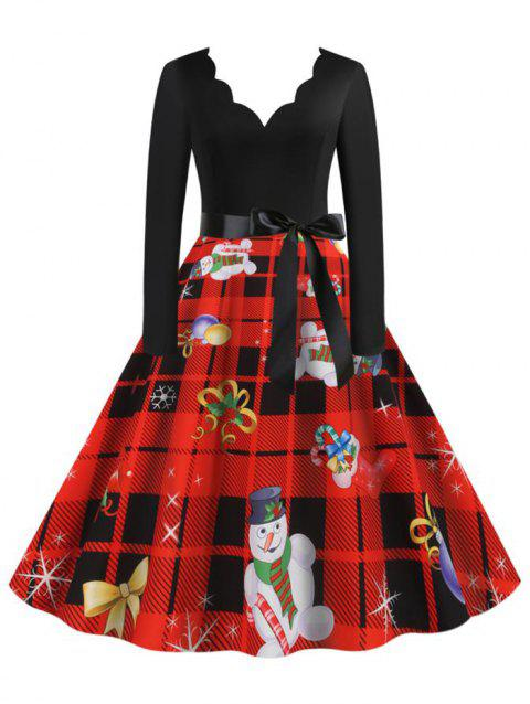 Scalloped Neck Christmas Pattern Plaid Belted Dress
