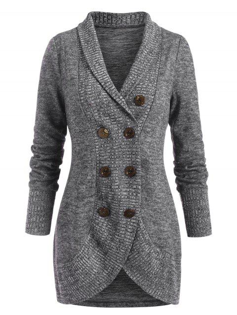 Shawl Collar Heathered Double Breasted Sweater Coat