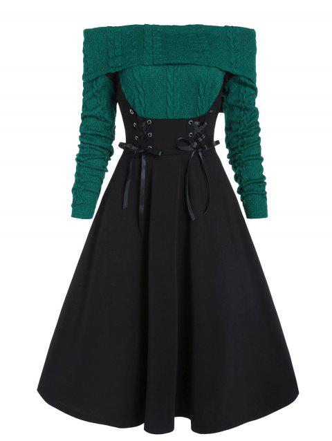 Lace Up Cable Knit Mixed Media Off Shoulder Dress