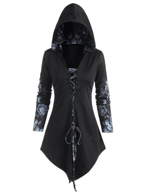 Hooded Rose Print Lace-up Front Asymmetrical Top