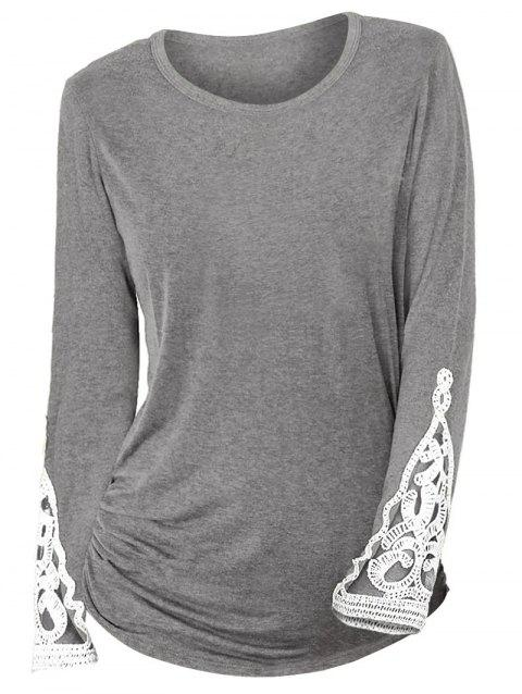 Crochet Lace Insert Ruched Sides Long Sleeve T Shirt