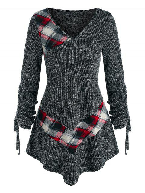 Plaid Heathered Cinched Sleeve Knitted Tee