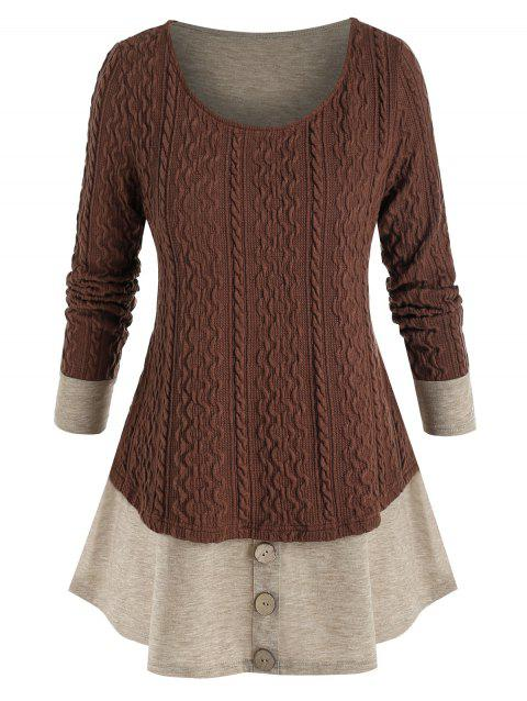 Plus Size Colorblock Knitted Mock Button Twofer T Shirt