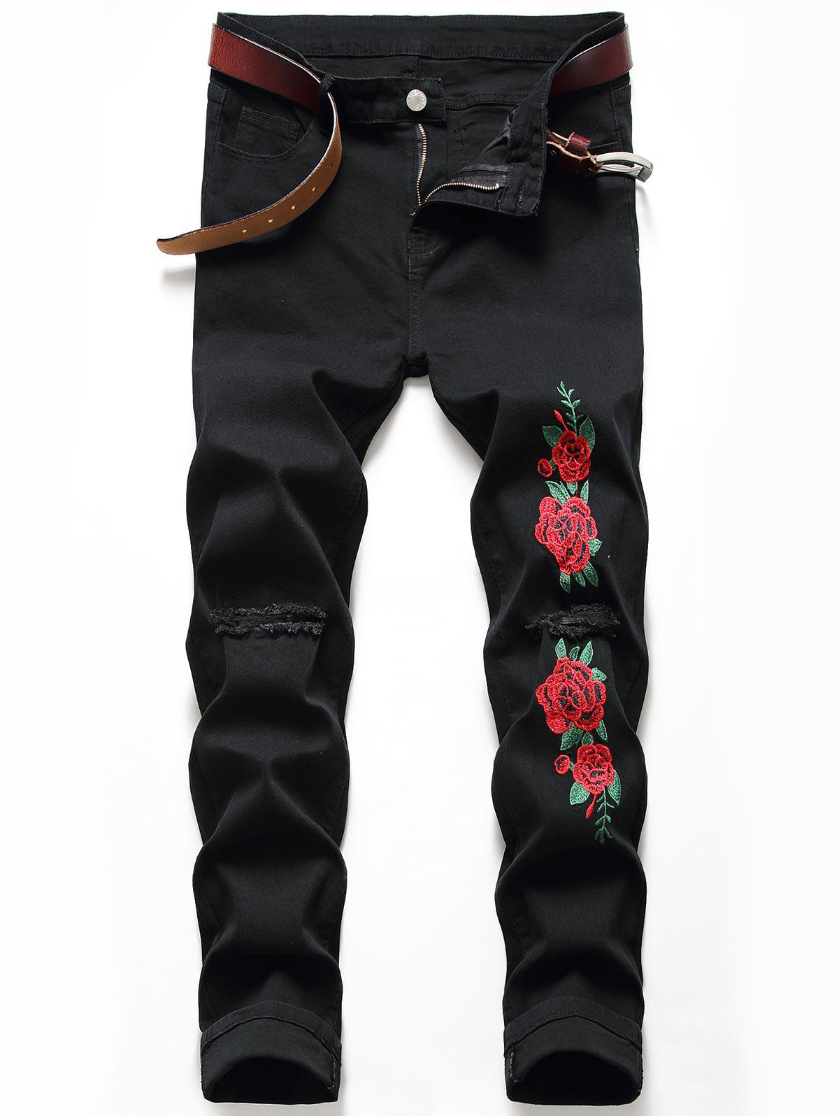 Flower Embroidered Ripped Tapered Jeans - BLACK 32