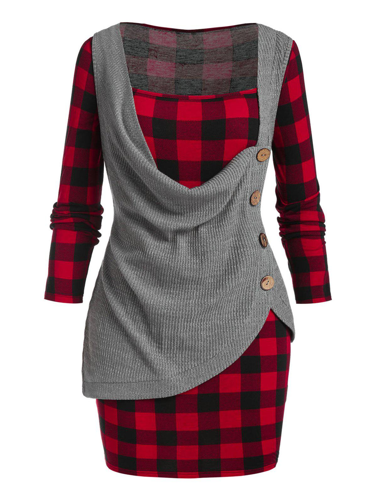 Plus Size Cowl Front Knitwear and Plaid Dress Set - RED WINE 3X