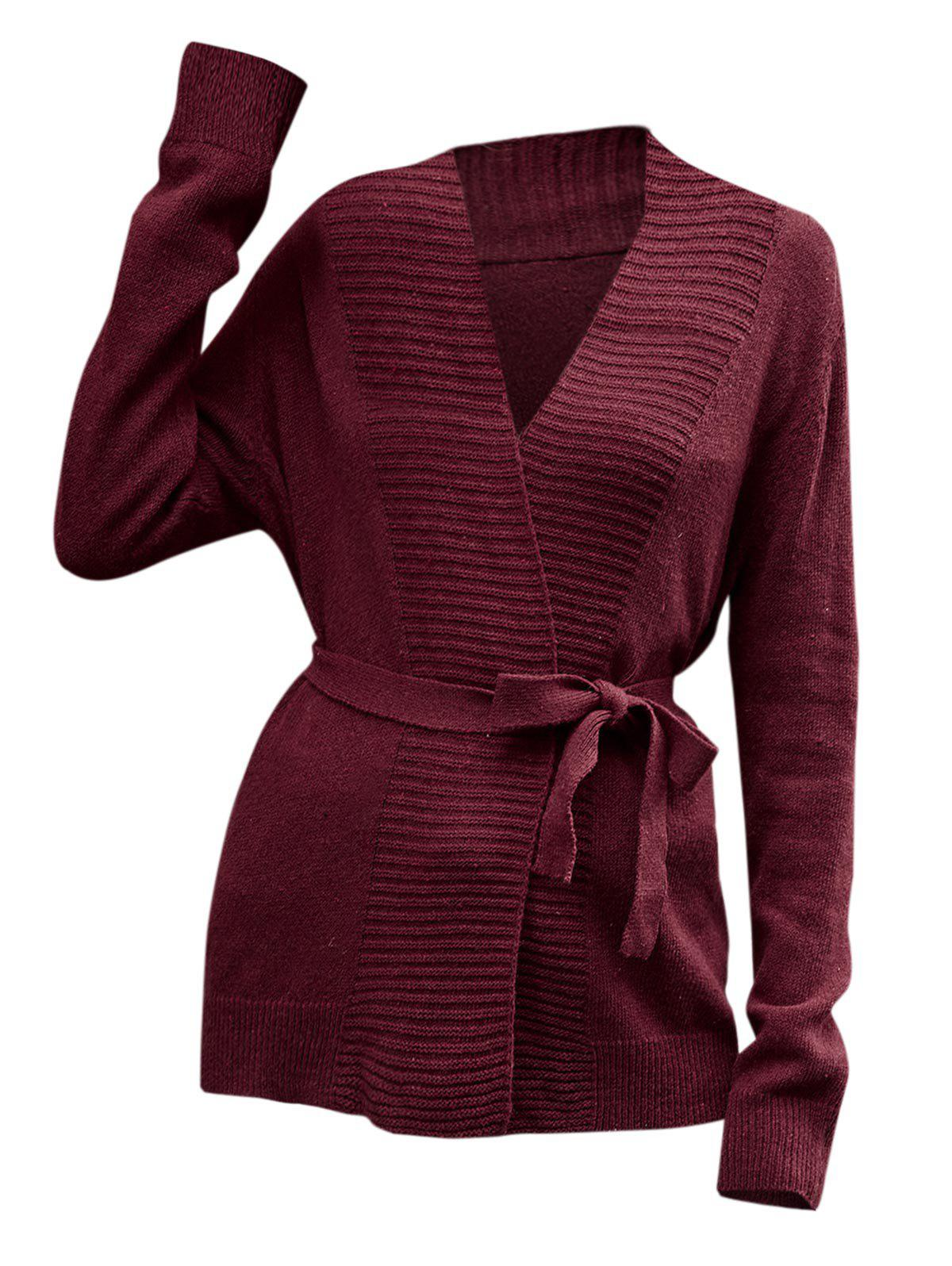 Belted Knit Wrap Coat - RED S