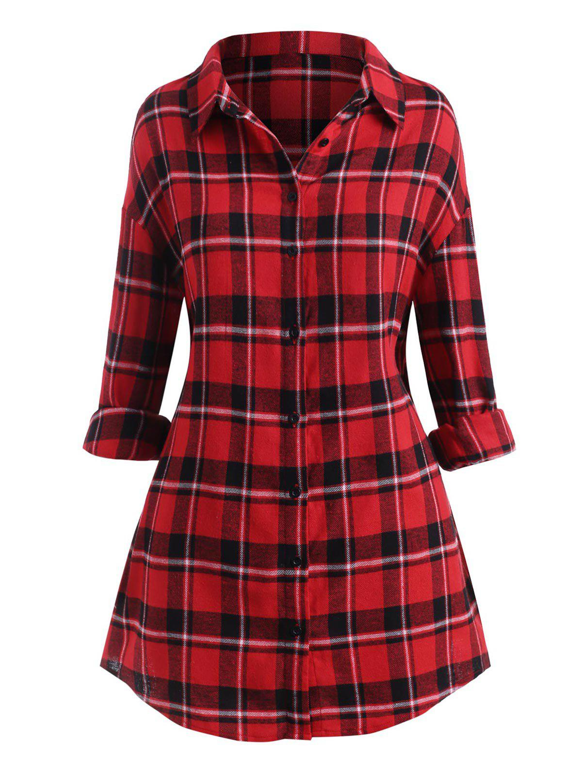 Plus Size Plaid Drop Shoulder Button Up Shirt - RED 2X