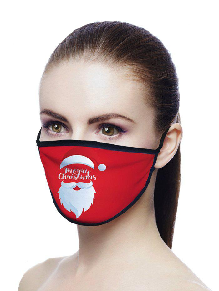Christmas Letter Beard Printed Air Layer Fabric Face Mask - RED 20*15CM