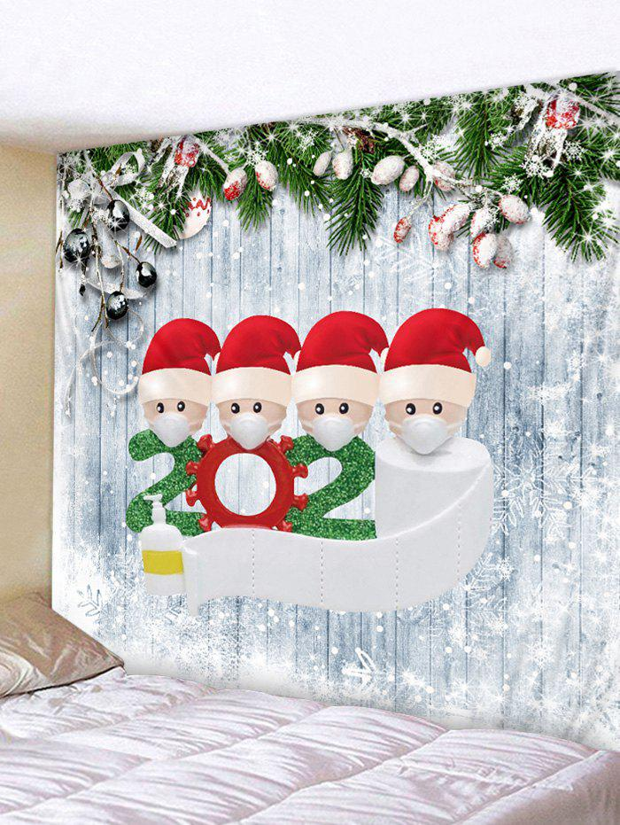 Christmas Wooden Grain Santa Print Wall Tapestry - CRYSTAL CREAM W59 X L51 INCH