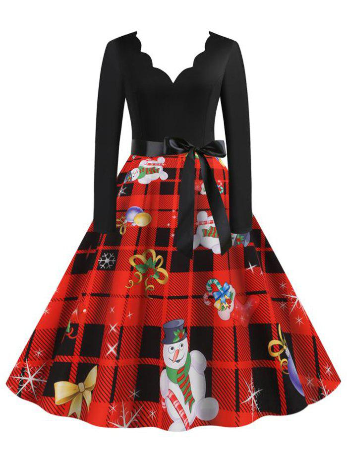 Scalloped Neck Christmas Pattern Plaid Belted Dress - RED XXXL