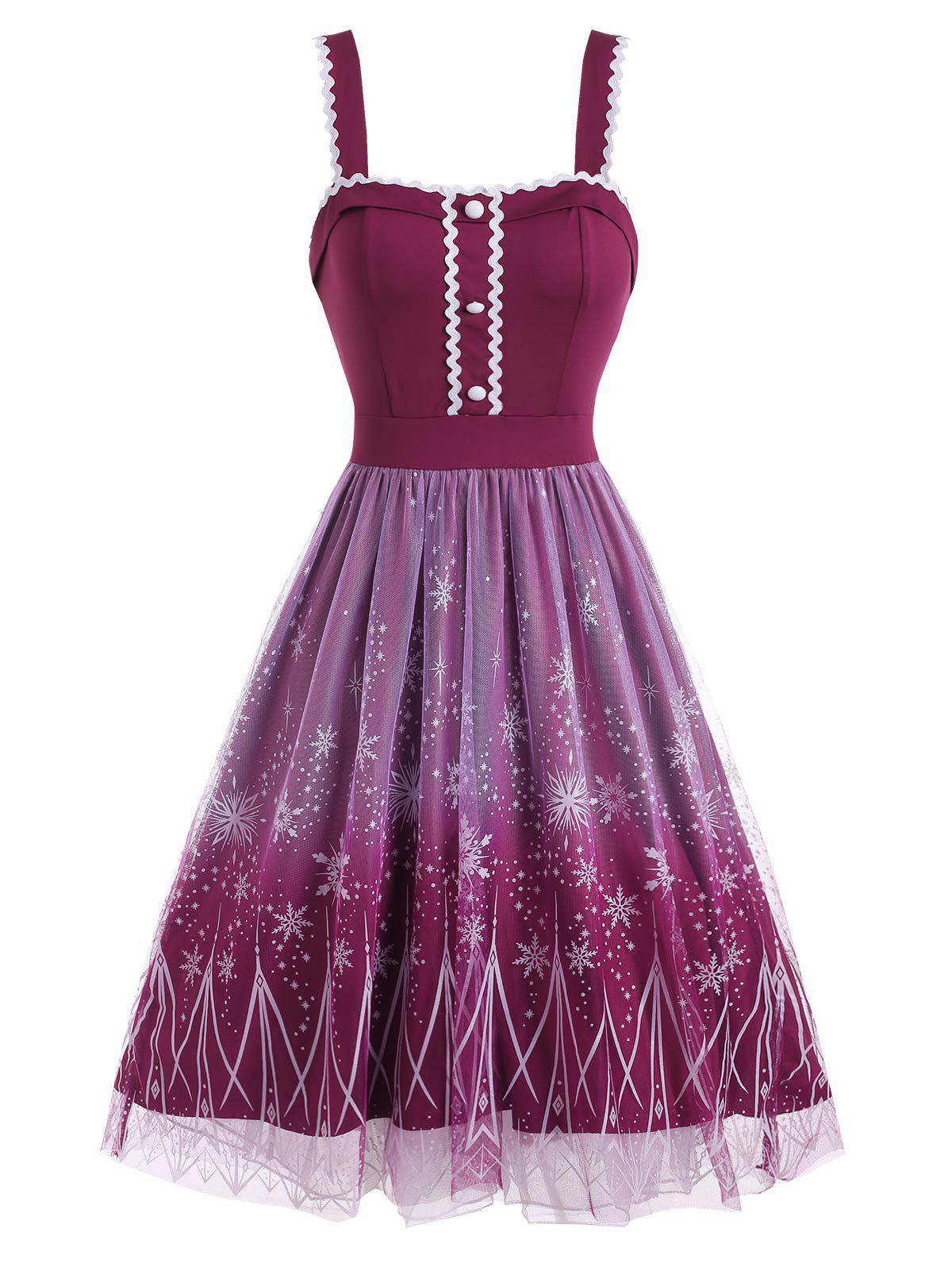 Christmas Snowflake Mesh Overlay High Low Dress - PURPLE XXL