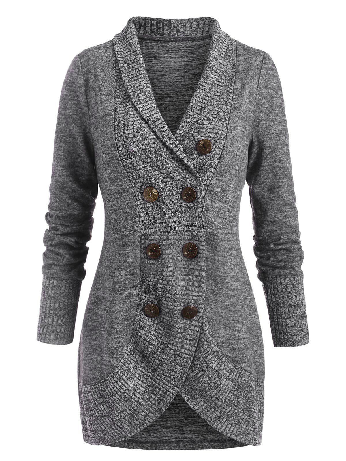 Shawl Collar Heathered Double Breasted Sweater Coat - GRAY M