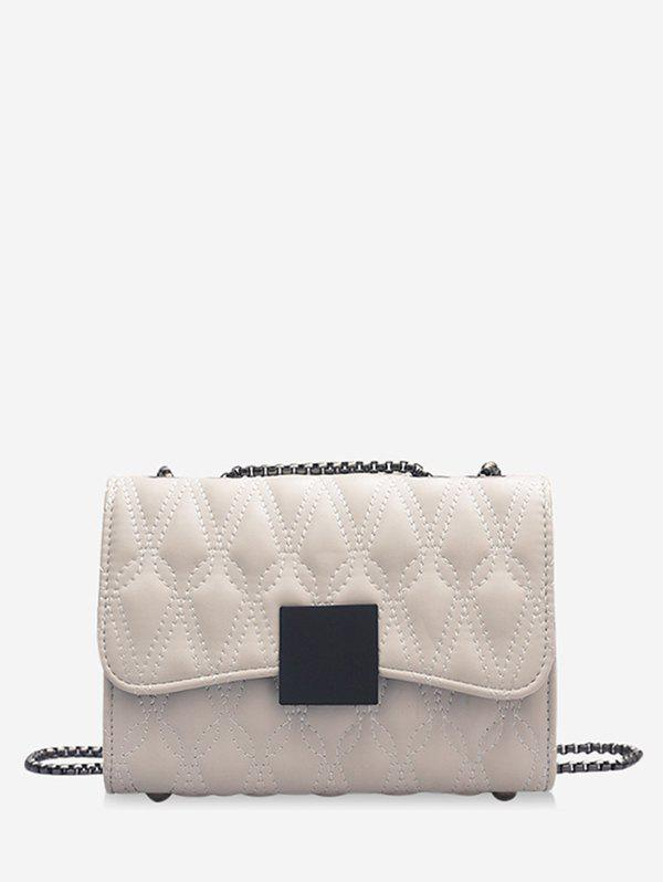 Water Drop Quilted Chain Cover Crossbody Bag - WHITE