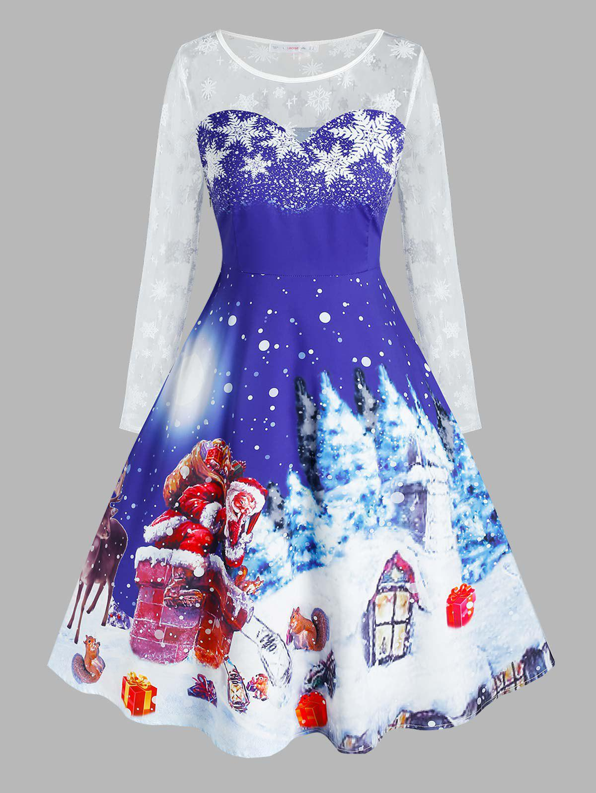 Plus Size Christmas Snowflake Claus Mesh Sheer Yoke Dress - BLUE 5X