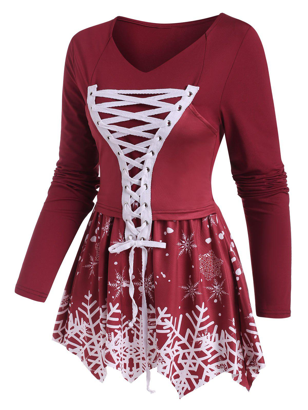 Lace-up Christmas Snowflake Print Long Sleeve Top - DEEP RED XXXL