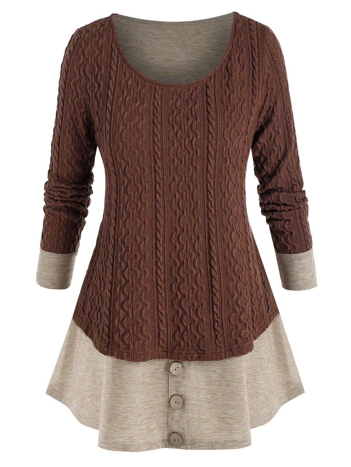 Plus Size Colorblock Knitted Mock Button Twofer T Shirt - DEEP BROWN 5X