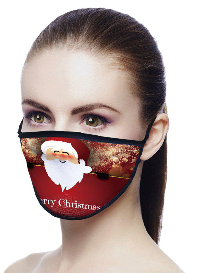 Christmas Santa Claus Printed Air Layer Fabric Face Mask - CHERRY RED 20*15CM
