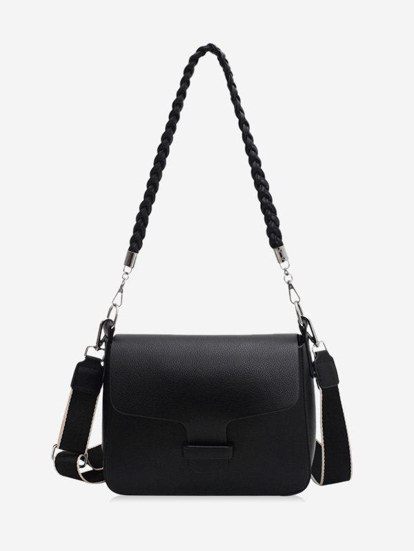 Solid Braid Strap Cover Shoulder Bag - BLACK