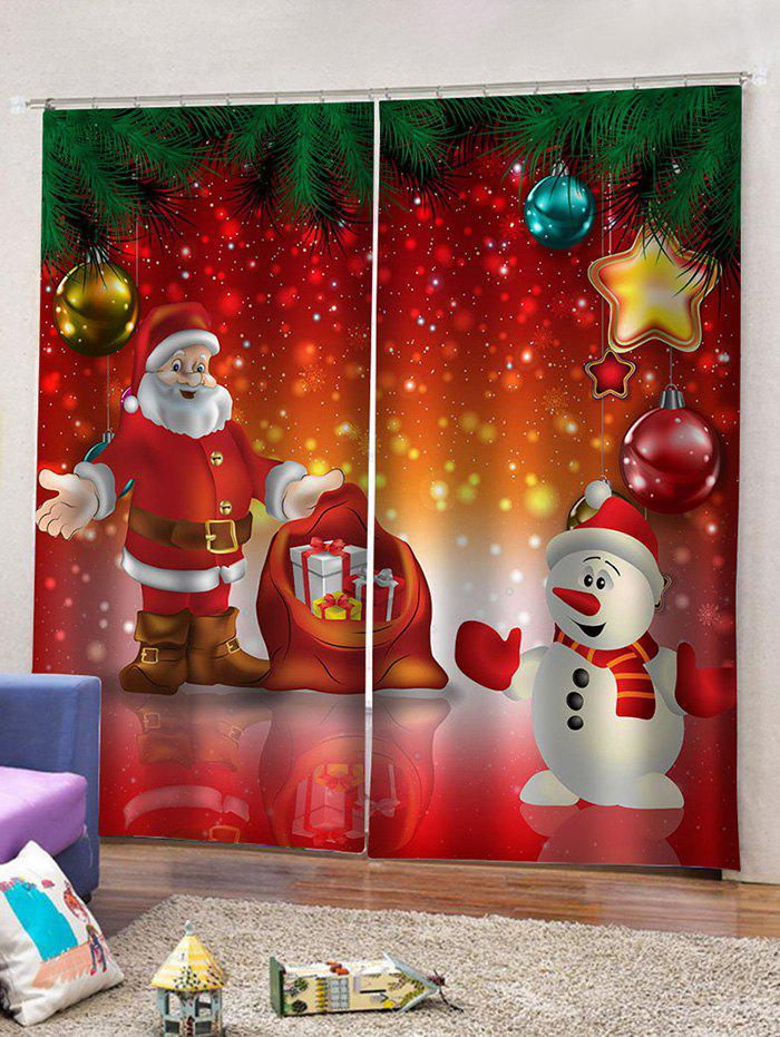 2 Panels Christmas Snowman Santa Print Window Curtains - multicolor W33.5 X L79 INCH X 2PCS