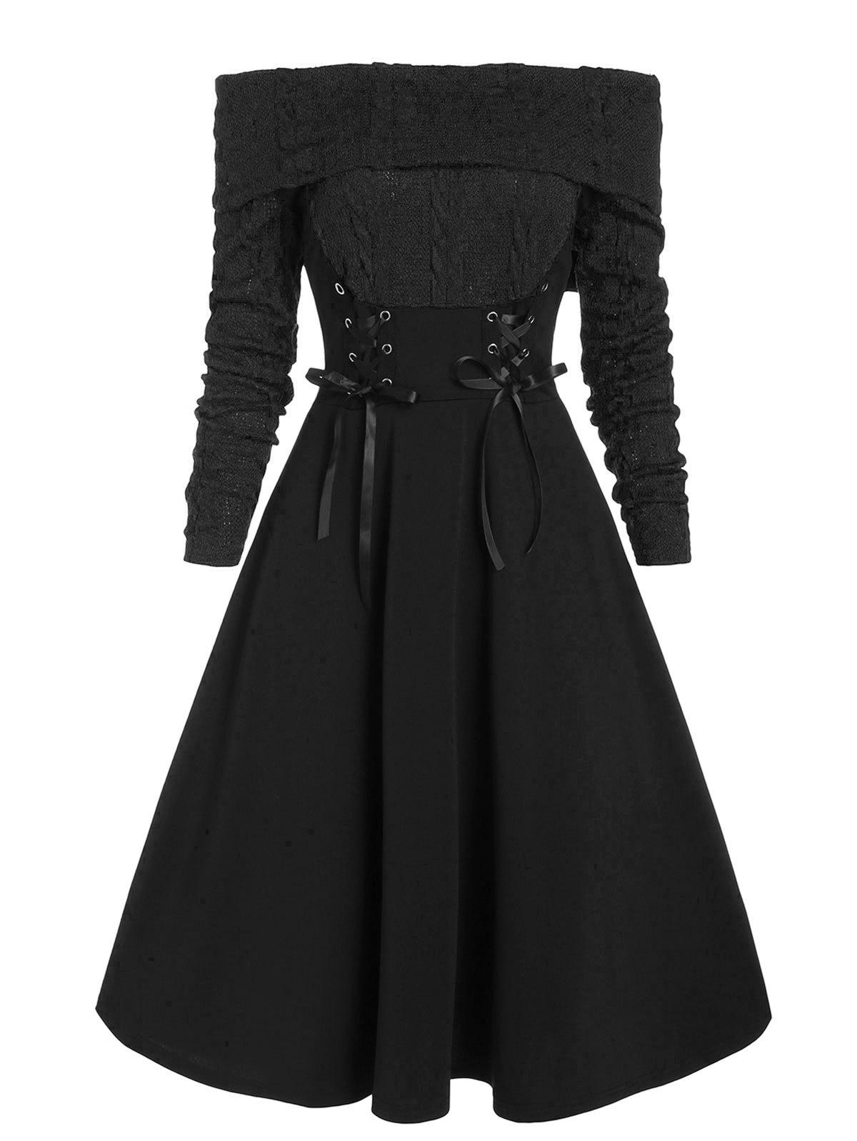 Lace Up Cable Knit Mixed Media Off Shoulder Dress - BLACK M