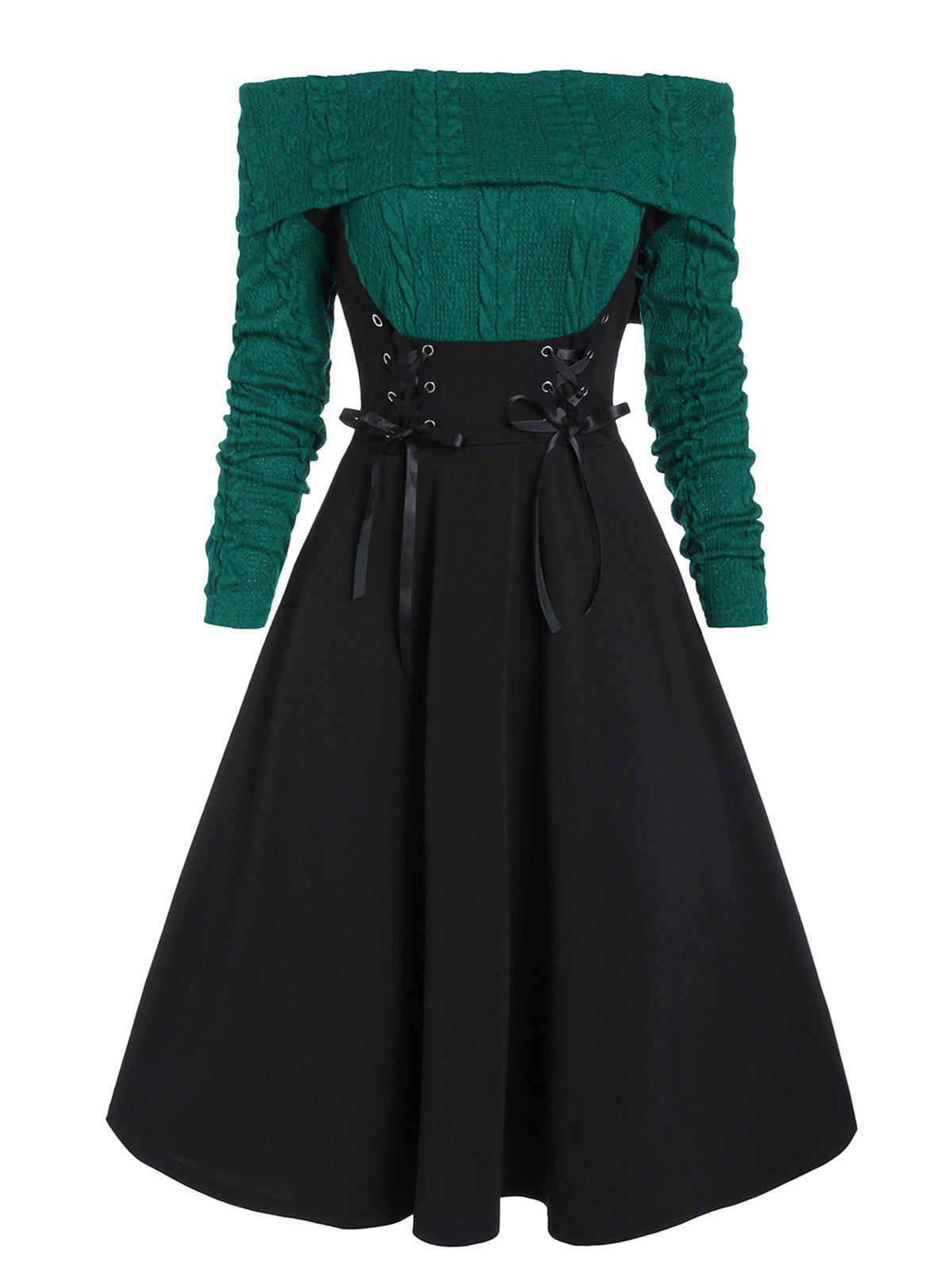 Lace Up Cable Knit Mixed Media Off Shoulder Dress - GREENISH BLUE M