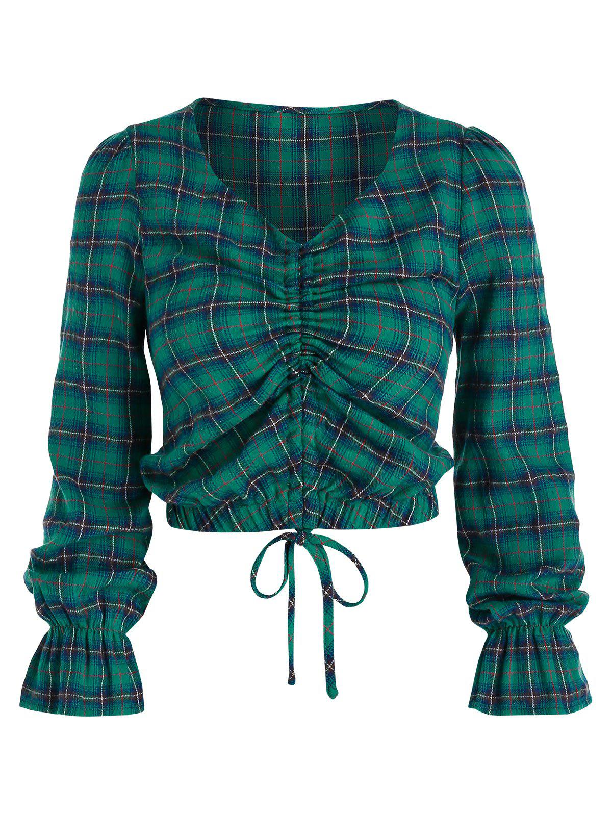 Plaid Print Cinched Cropped Blouse - GREENISH BLUE L