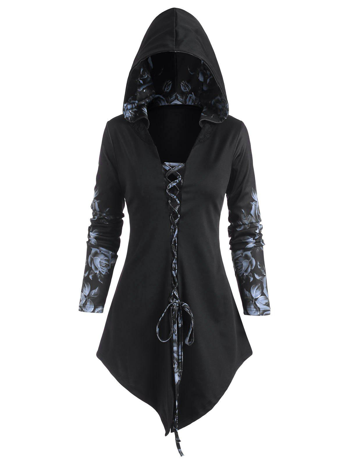 Hooded Rose Print Lace-up Front Asymmetrical Top - BLACK XXL
