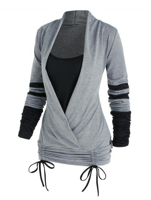 Cinched Contrast Striped Faux Twinset T-shirt